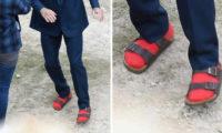 დევით ბექჰემის ახალი სტილი – სანდლები და წითელი წინდები
